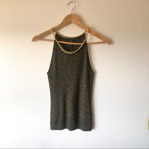 NWT August Silk gold/black ribbed sweater tank